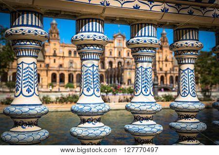Ceramic Bridge inside Plaza de Espana in Seville Spain.