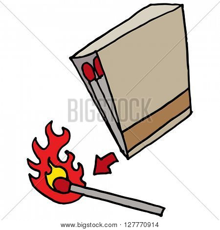 An image of a book of matches striking a match.
