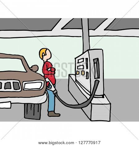 An image of a driver pumping gas at station.