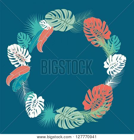 Tropical Wreath in bold white, green and coral red colors on blue background. Palm leaves frame