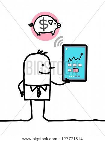 cartoon character with tablet - bank