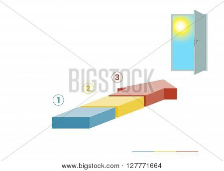 Template infographics from colored parts arrows and doorway with sky sun on white background numbered for 3 positions