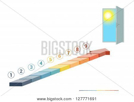 Template infographics from colored parts arrows and doorway with sky sun on white background numbered for 9 positions