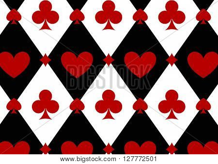 Seamless casino gambling  background with red, black, white cards symbols
