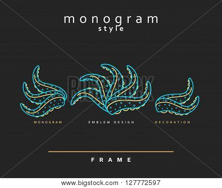 Sea food. Octopus marine theme . Abstract Elegant octopus design template. Linear style. Seafood restaurant vintage outline icon. Emblem Sea monogram style.