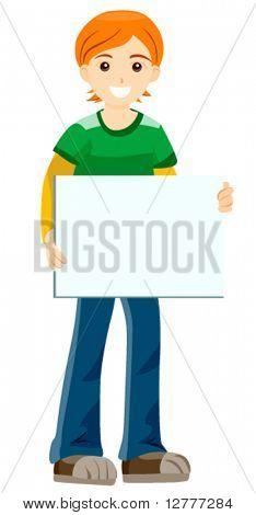 Boy with Blank Cardboard - Vector