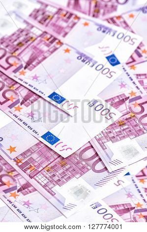 500 Euro bills. Five hundred notes. European. Money Background