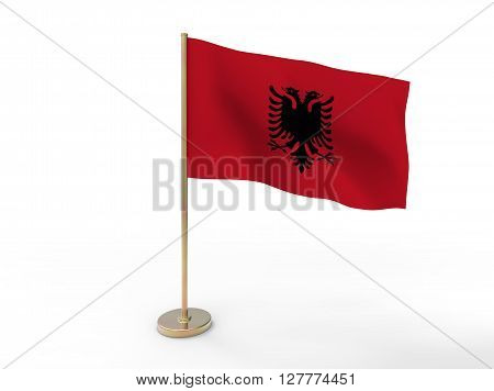 flag of Albania. 3D illustration on white background with shadow.