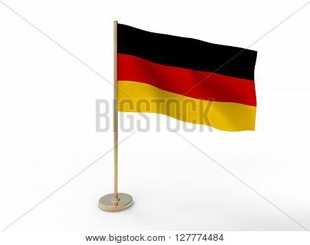 flag of Germany. 3D illustration on white background with shadow.