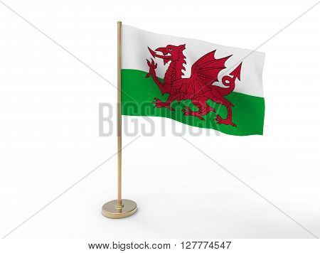 flag of Wales. 3D illustration on white background with shadow.