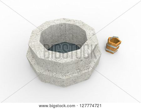 3d illustration of well. simple low polygonal triangles style. blue water. with bucket. isolated on white background with shadow. icon for game and web.