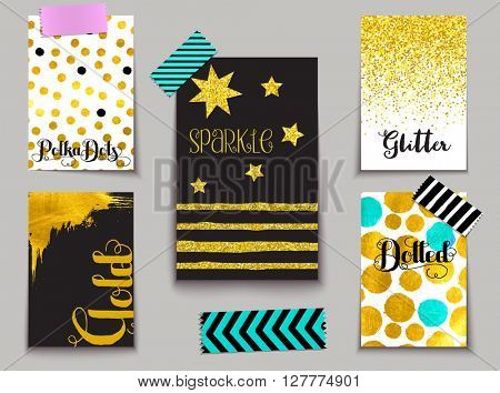 Set of Sparkling Gold-dusted Cards - Gold leaf and gold glitter on black and white, including abstract, polka dots, stripes and star shapes, and washy tape