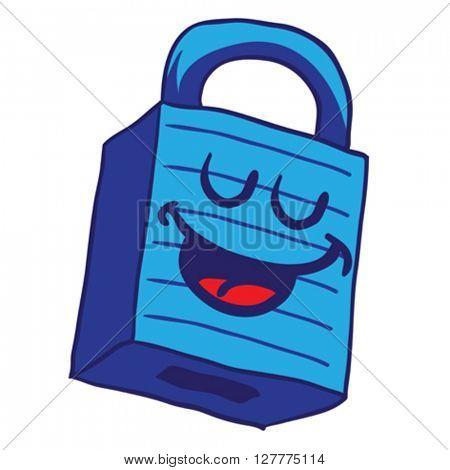 happy blue lock cartoon illustration