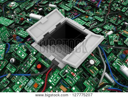 Electronic circuit open hatch door stairway isolated 3d illustration