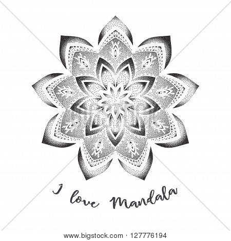 Mandala set and other elements. Vector. Mandala tattoo. Perfect  cards of design, birthday and other holiday, kaleidoscope,  medallion, yoga, india, arabic. circular pattern, sketch for tattoo