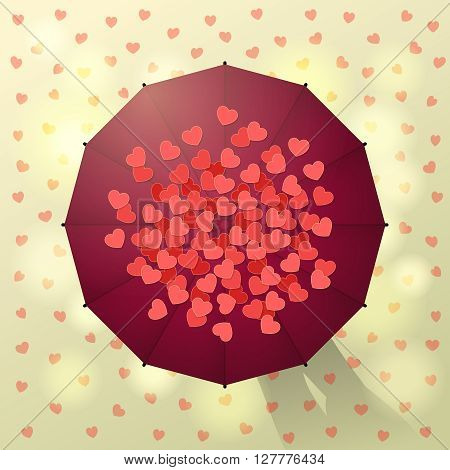 Enamored couple under maroon umbrella and red hearts around