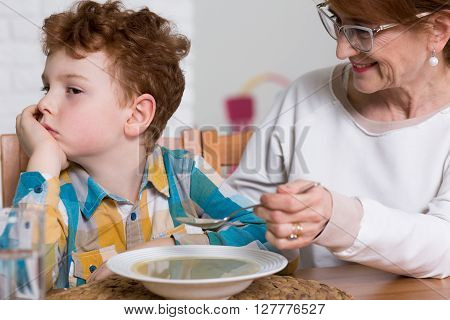 Naughty Fussy Eater And Grandmother's Dinner