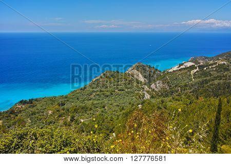 Amazing panorama of blue waters of Ionian sea, Lefkada, Greece