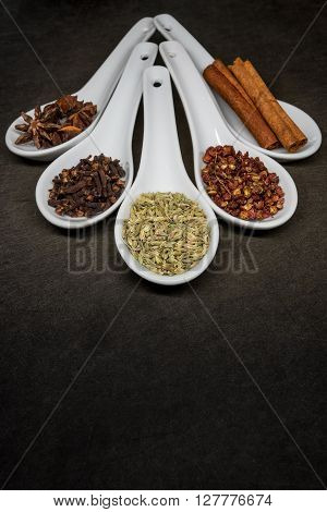Five Spice with Fennel Seed Focus with slate cutting board copy space