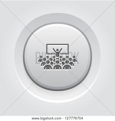 Coaching Icon. Business Concept. Grey Button Design