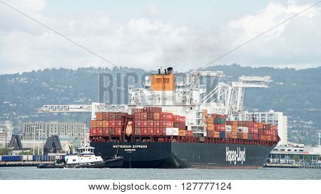 Cargo Ship Rotterdam Express Entering The Port Of Oakland