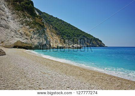 small white stones at Myrtos beach, Kefalonia, Ionian islands, Greece
