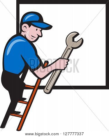 Illustration of a repairman handyman worker wearing hat carrying spanner wrench climbing ladder with window in the background done in cartoon style.