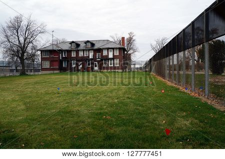 JOLIET, ILLINOIS / UNITED STATES - JANUARY 1, 2013: The old Joliet Juvenile Prison's Administration Building.