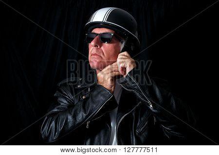 Biker In Leather Jacket Sunglasses Helmet