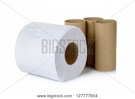 Tissue and core isolated on the white background.