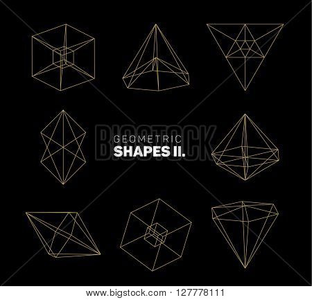 Vector abstract regular geometric shapes - golden on dark gray background