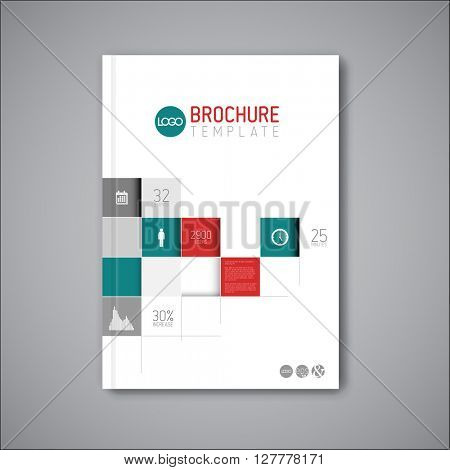 Modern Vector abstract brochure / book / flyer design template with mosaic - teal and red version