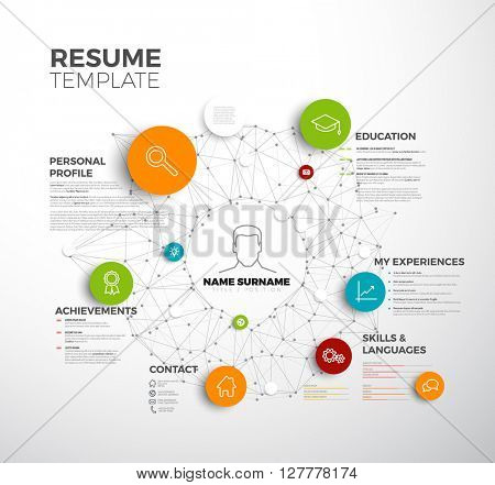 Vector original minimalist cv / resume template - creative profile version