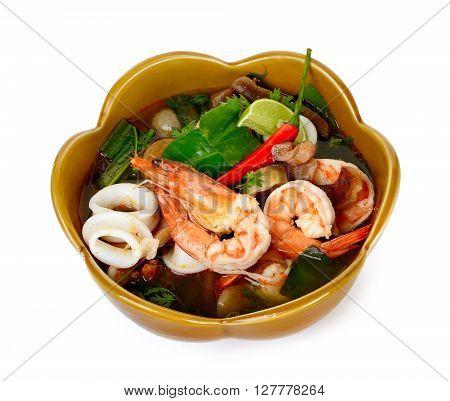 Thai Food Tom Yum Goong In Brown Bowl