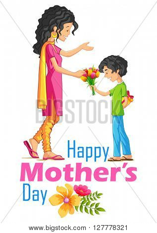 illustration of kids giving gift to mother on Mother's Day