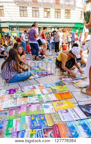 SPLIT CROATIA - SEPTEMBER 2 2009: Used school textbooks for sale before the new school year commences