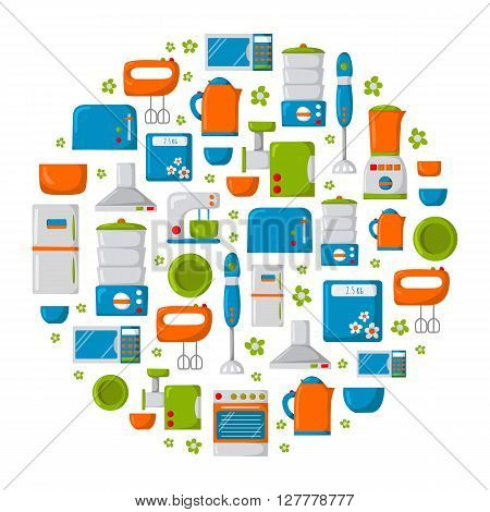 Round background with cartoon kitchen appliances. Kitchen domestic electric equipment. Kitchen appliance cartoon. Vector background with household equipment. Apartment indoor appliances