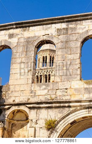 St. Domnius belfry viewed through the Silver Gate (Porta Argentea) walls on the east side of Diocletian's Palace in Split Croatia