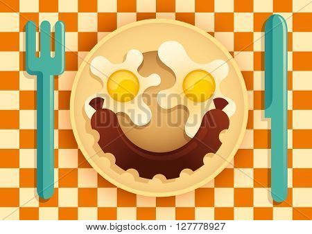 Fried eggs and sausage. Vector illustration.