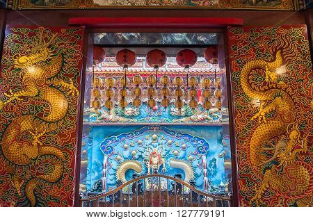 Kaohsiung Taiwan - Jan 2 2013 : Decorative doors inside The temple of Enlightenment Kaohsiung City Taiwan
