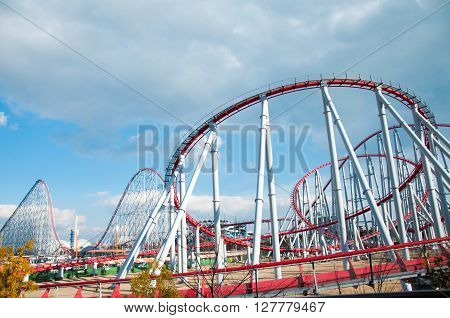 Mie Japan - February 22, 2013 : Roller coaster track steel dragon in Nagashima spa land Japan