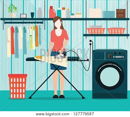 Woman ironing of clothes on ironing board in Laundry room with washing machine facilities for washing washing powder and basket on shelves Housework Flat style vector illustration.