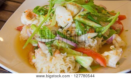 close up delicious spicy seafood thai food