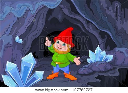 Illustration of cute gnome close to fairy cave