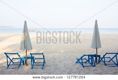 sea view in tropical with sunbed and umbrella on tropical beach