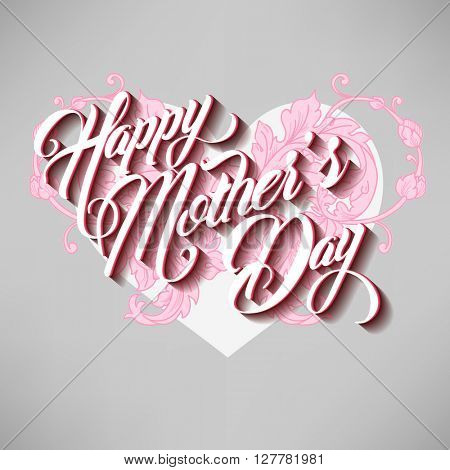 Happy Mothers Day Typographical Lettering Greeting card with heart
