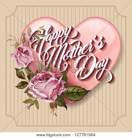 Happy Mothers Day Typographical Lettering vintage Greeting card