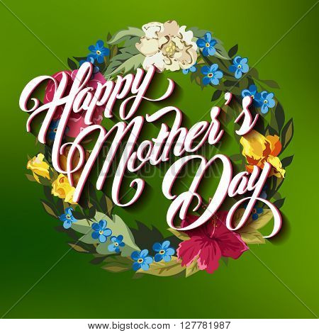 Happy Mother Day Typographical Lettering Greeting card