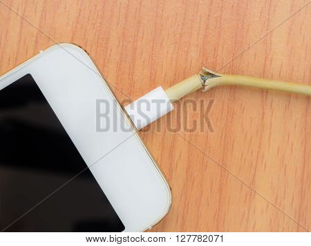 Top view of broken charger cable with smart phoneon the wooden table