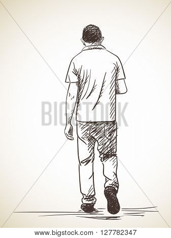 Sketch of walking man Back view Hand drawn illustration